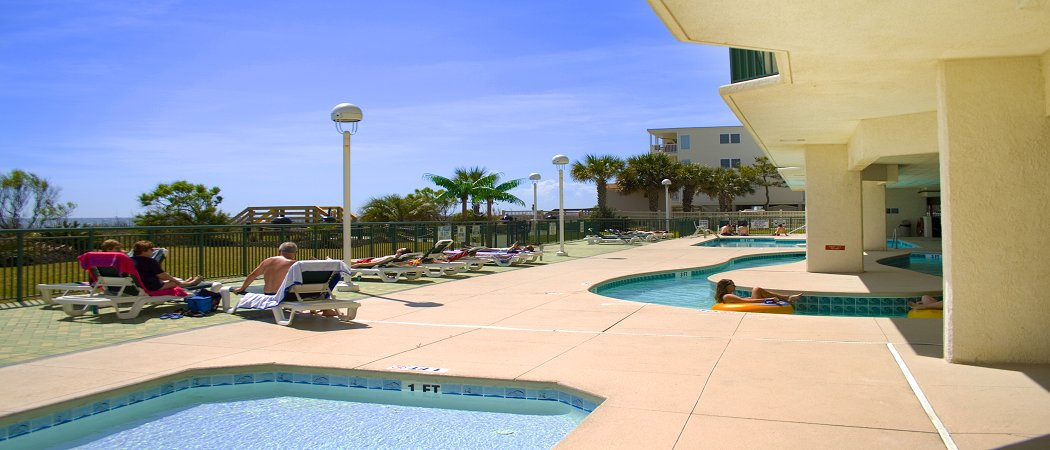 Outdoor lazy river at Windy Hill Dunes