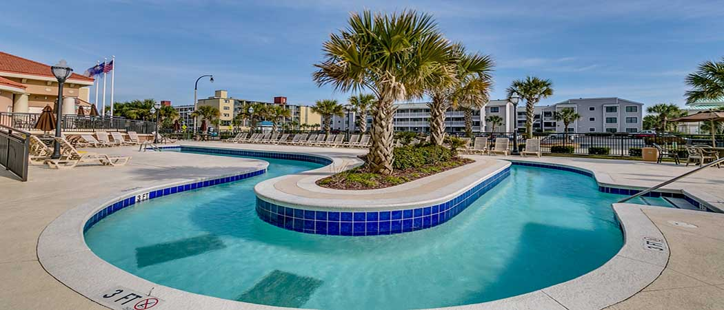 Outdoor lazy river at Tilghman Resort in North Myrtle Beach, SC